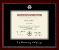 University of Chicago Diploma Frame - Silver Engraved Medallion Diploma Frame in Sutton
