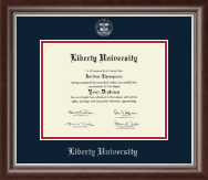 Liberty University Diploma Frame - Silver Embossed Diploma Frame in Devonshire
