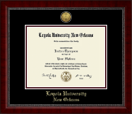 Loyola University New Orleans Diploma Frame - Gold Engraved Medallion Diploma Frame in Sutton