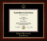 Loyola University New Orleans Diploma Frame - Gold Embossed Diploma Frame in Murano