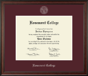 Rosemont College Diploma Frame - Silver Embossed Diploma Frame in Studio
