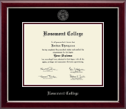 Rosemont College Diploma Frame - Silver Embossed Diploma Frame in Gallery Silver