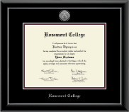 Rosemont College Diploma Frame - Silver Engraved Medallion Diploma Frame in Onyx Silver