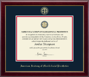 American Academy of Maxillofacial Prosthetics Certificate Frame - Gold Embossed Certificate Frame in Gallery