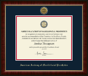 American Academy of Maxillofacial Prosthetics Certificate Frame - Gold Engraved Medallion Certificate Frame in Murano