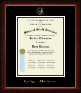 College of Charleston Diploma Frame - Gold Embossed Diploma Frame in Murano