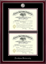 Fordham University Diploma Frame - Masterpiece Medallion Double Diploma Frame in Gallery Silver