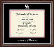 University of Houston Diploma Frame - Silver Embossed Diploma Frame in Devonshire