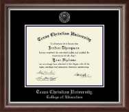 Texas Christian University Diploma Frame - Silver Embossed Diploma Frame in Devonshire