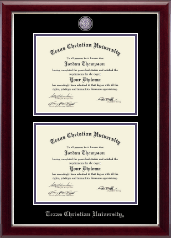 Texas Christian University Diploma Frame - Masterpiece Medallion Double Diploma Frame in Gallery Silver