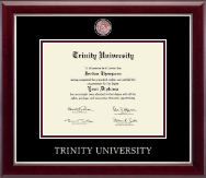 Trinity University Diploma Frame - Masterpiece Medallion Diploma Frame in Gallery Silver