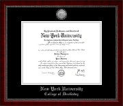 New York University Diploma Frame - Silver Engraved Medallion Diploma Frame in Sutton