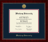Winthrop University Diploma Frame - Gold Engraved Medallion Diploma Frame in Sutton