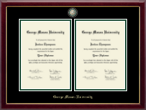 George Mason University Diploma Frame - Masterpiece Medallion Double Diploma Frame in Gallery