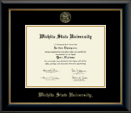 Wichita State University Diploma Frame - Gold Embossed Diploma Frame in Onyx Gold
