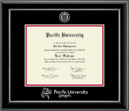 Pacific University Diploma Frame - Silver Embossed Diploma Frame in Onyx Silver