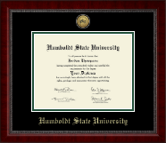 Humboldt State University  Diploma Frame - Gold Engraved Medallion Diploma Frame in Sutton