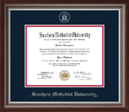 Southern Methodist University Diploma Frame - Silver Embossed Diploma Frame in Devonshire