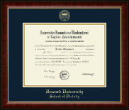 Howard University School of Law Diploma Frame - Gold Embossed School of Divinity Diploma Frame in Murano