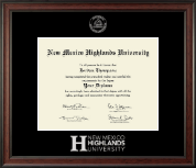 New Mexico Highlands University Diploma Frame - Silver Embossed Diploma Frame in Studio