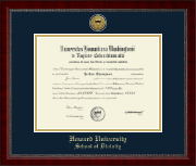 Howard University School of Law Diploma Frame - Gold Engraved Medallion School of Divinity Diploma Frame in Sutton