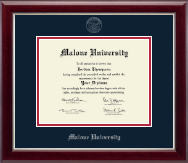 Malone University Diploma Frame - Silver Embossed Diploma Frame in Gallery Silver