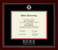 Rider University Diploma Frame - Silver Engraved Medallion Diploma Frame in Sutton