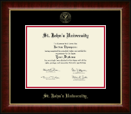 St. John's University, New York Diploma Frame - Gold Embossed Diploma Frame in Murano