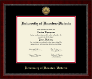 University of Houston - Victoria Diploma Frame - Gold Engraved Medallion Diploma Frame in Sutton