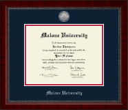 Malone University Diploma Frame - Silver Engraved Medallion Diploma Frame in Sutton