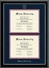 Malone University Diploma Frame - Double Diploma Frame in Onyx Silver