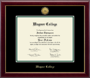 Wagner College Diploma Frame - Gold Engraved Medallion Diploma Frame in Gallery