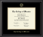 The College of Wooster Diploma Frame - Gold Embossed Diploma Frame in Midnight