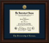 The University of Kansas Diploma Frame - Gold Engraved Medallion Diploma Frame in Lenox