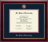 St. John's University, New York Diploma Frame - Masterpiece Medallion Diploma Frame in Gallery
