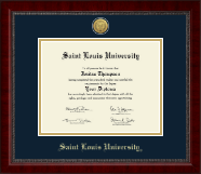 Saint Louis University Diploma Frame - Gold Engraved Medallion Diploma Frame in Sutton