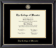 The College of Wooster Diploma Frame - Masterpiece Medallion Diploma Frame in Noir