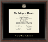 The College of Wooster Diploma Frame - Masterpiece Medallion Diploma Frame in Chateau