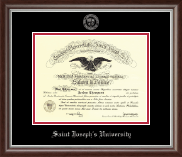 Saint Joseph's University in Pennsylvania Diploma Frame - Silver Embossed Diploma Frame in Devonshire