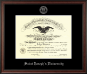Saint Joseph's University in Pennsylvania Diploma Frame - Silver Embossed Diploma Frame in Studio