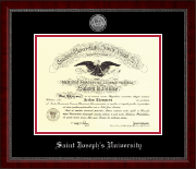 Saint Joseph's University in Pennsylvania Diploma Frame - Silver Engraved Medallion Diploma Frame in Sutton