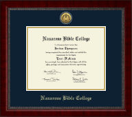 Nazarene Bible College Diploma Frame - Gold Engraved Medallion Diploma Frame in Sutton