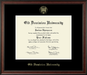 Old Dominion University Diploma Frame - Gold Embossed Diploma Frame in Studio