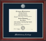 Middlebury College Diploma Frame - Pewter Masterpiece Medallion Diploma Frame in Kensington Silver
