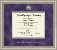 Dallas Theological Seminary Diploma Frame - Presidential Silver Engraved Diploma Frame in Versailles Silver