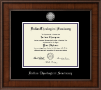 Dallas Theological Seminary Diploma Frame - Silver Engraved Medallion Diploma Frame in Madison