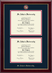St. John's University, New York Diploma Frame - Masterpiece Medallion Double Diploma Frame in Gallery