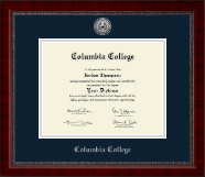 Columbia College Diploma Frame - Silver Engraved Medallion Diploma Frame in Sutton