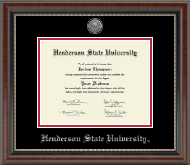 Henderson State University Diploma Frame - Silver Engraved Medallion Diploma Frame in Chateau