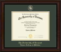 The University of Vermont Diploma Frame - Masterpiece Medallion Diploma Frame in Lenox